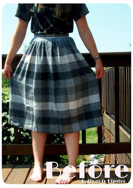Grey Striped Skirt Refashion