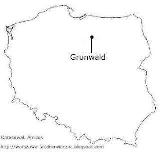 Położenie Grunwaldu na mapie Polski