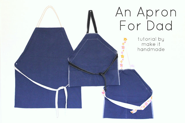 Whip up a simple apron for the men in you life. The aprons are easy to dress up with applique, fabric paint or patch pockets. Tutorial by Make It Handmade