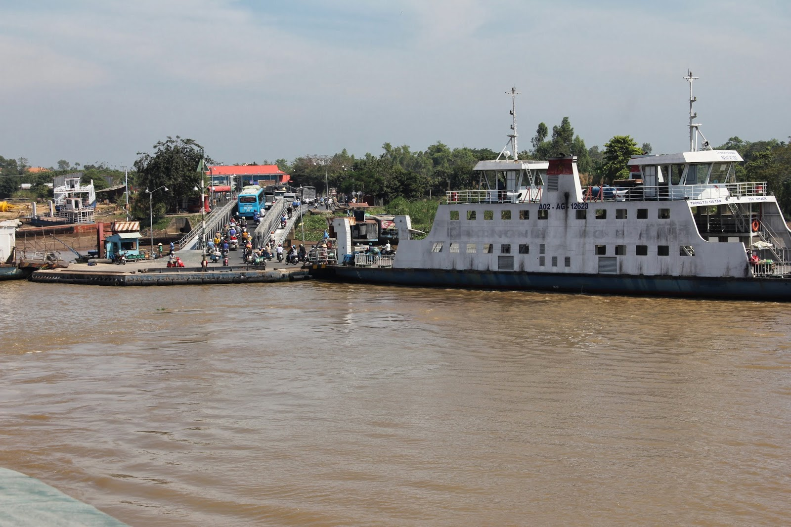 A ferry across the Mekong River.
