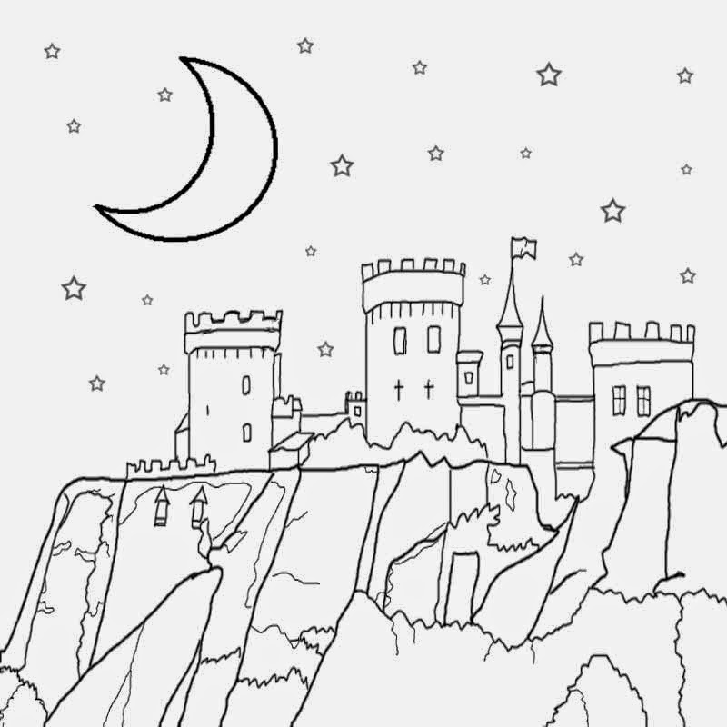 nocturnal atmosphere sky sketch for kids half moon stars medieval castle coloring page to print out - Sketch For Kids