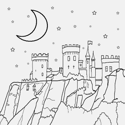 Nocturnal atmosphere sky sketch for kids half moon stars medieval castle coloring page to print out