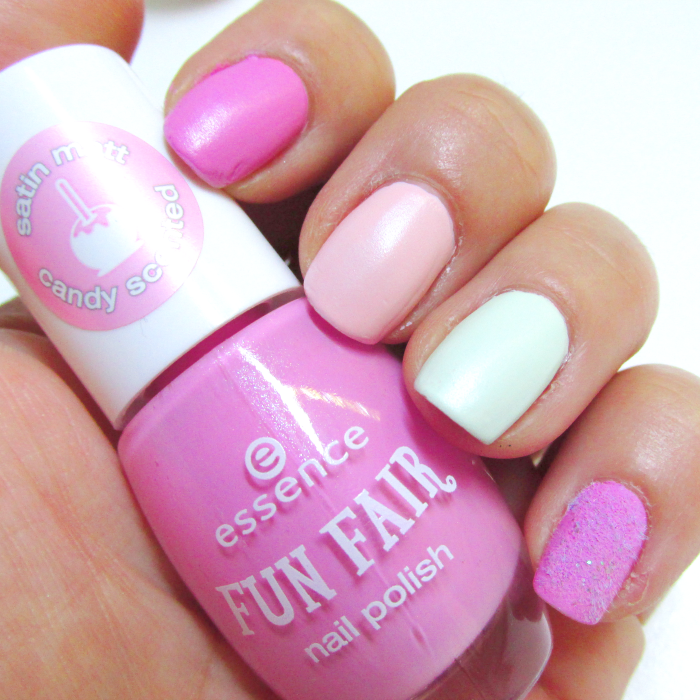 essence fun fair nailpolishes - ring around the rosy, be my marshfellow, you´re mint-blowing, cotton candy nails
