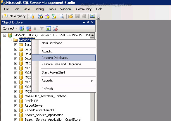 Restore SharePoint 2007 Content Database to SharePoint 2010