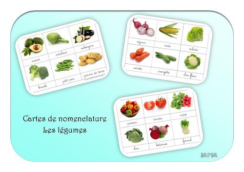 Cartes de nomenclatures les légumes en maternelle