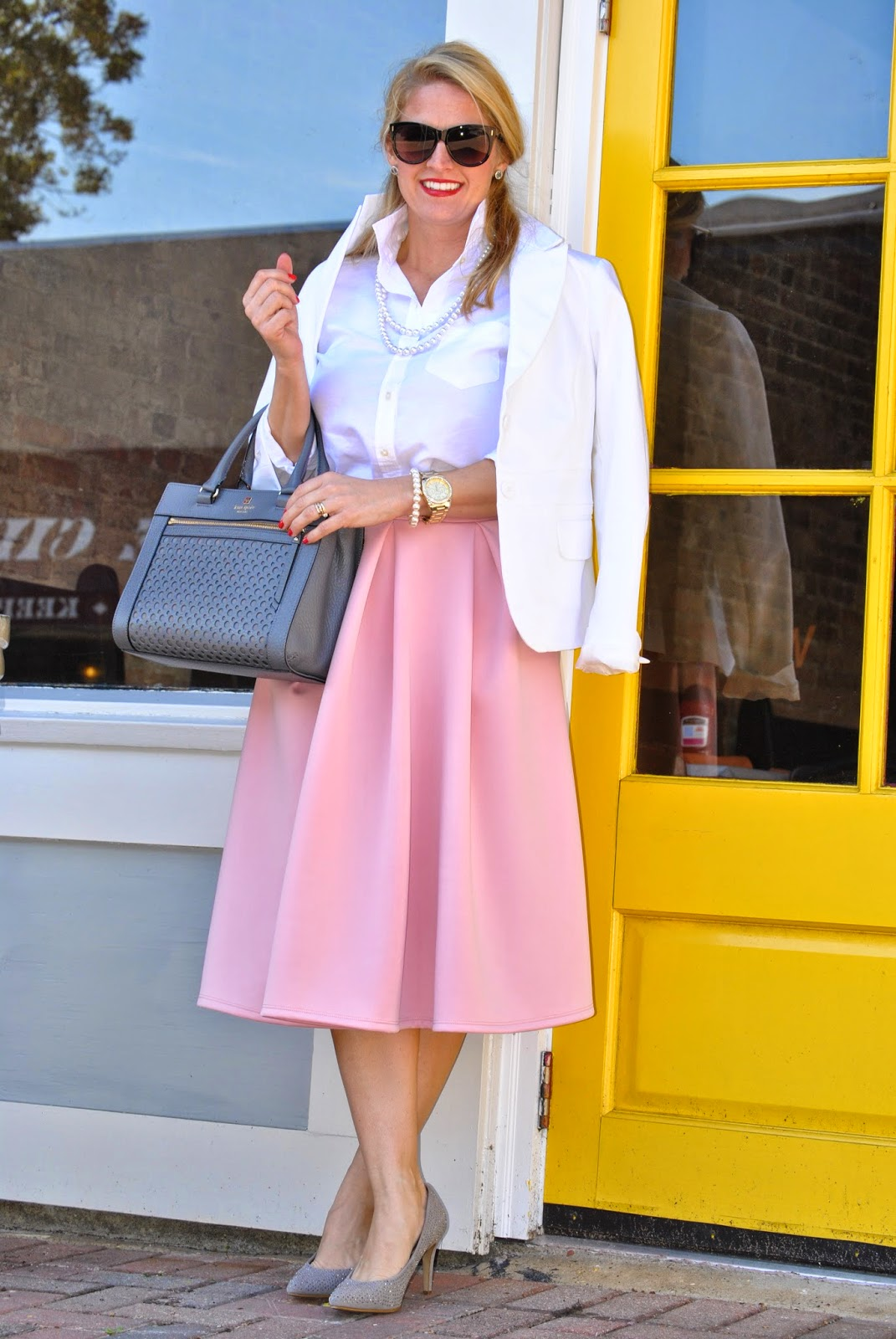 J Crew Sweater, Windsor Pink Midi Skirt, Rebecca Minkoff Black Mini Mac Sunshine and Sequins Fashion Blog