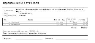 Печатная форма докумета Перемещение ТМЦ