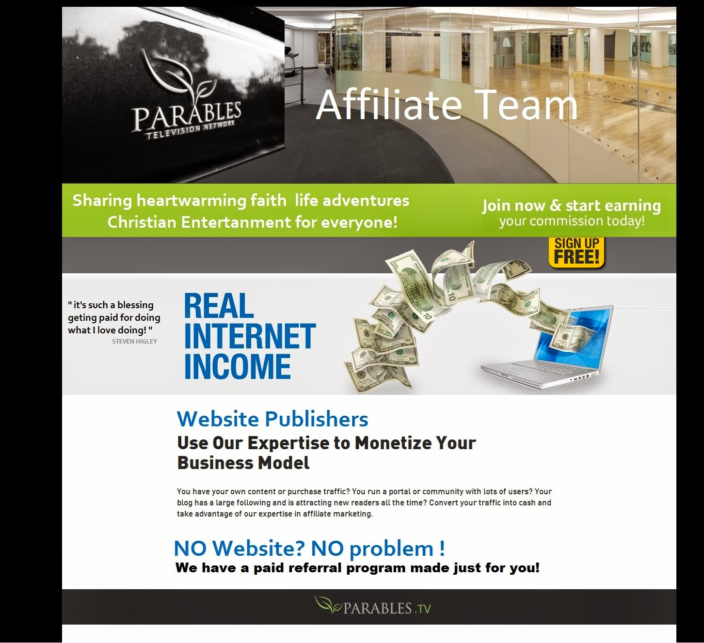 parables tv Sign up page