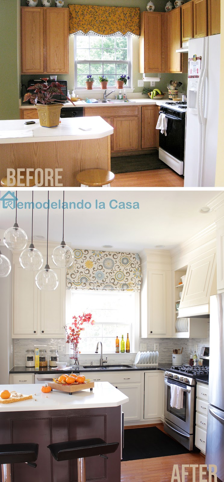 before and after of kitchen makeover on a budget with painted cabinets, closed space above cabinets, diy range hood and fridge enclosure.