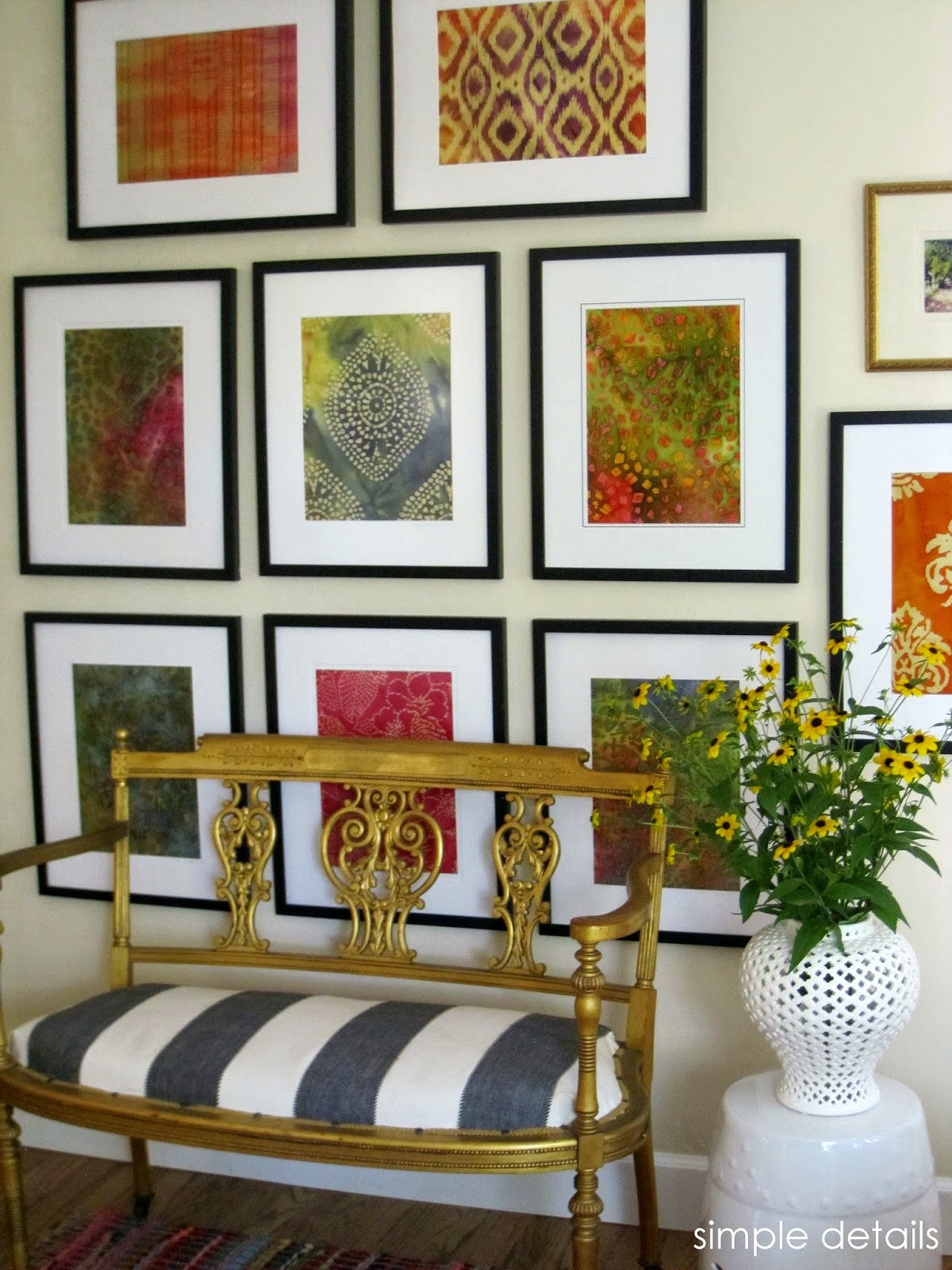Simple details diy framed batik fabric for Fabric picture frames