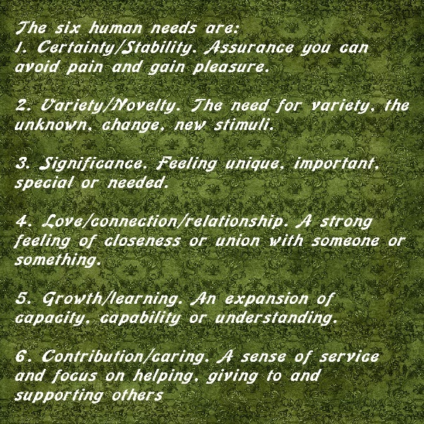 Six Human Needs Of Your Students