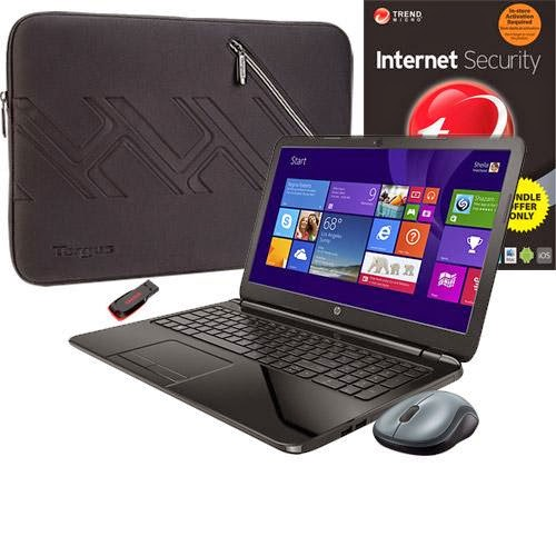 HP 15-g020dx Laptop, Internet Security Software, Sleeve, Mouse & Flash Drive Package
