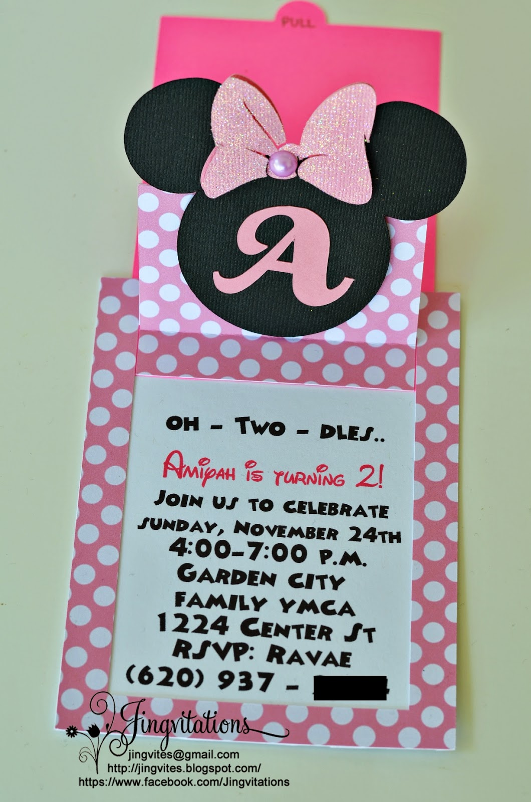 Jingvitations Cricut Handmade Minnie Mouse Pop Up Invitations