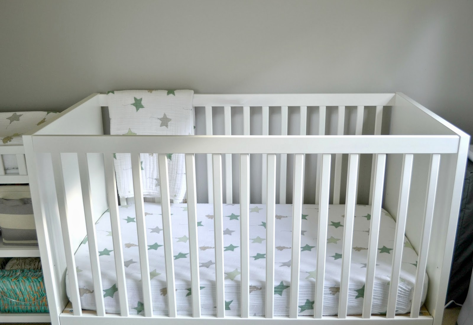 Nursery tour, nursery on a budget, Aden and Anais, IKEA crib,