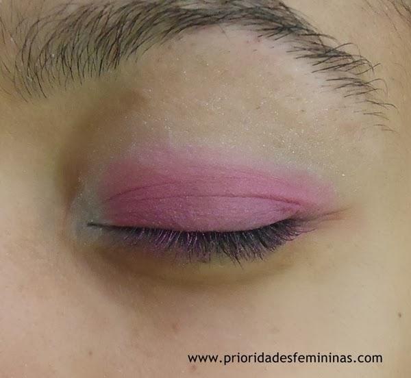 maquiagem tutorial sombra rosa e branca