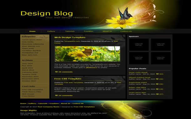Free Butterfly Floral Black CSS Website Template