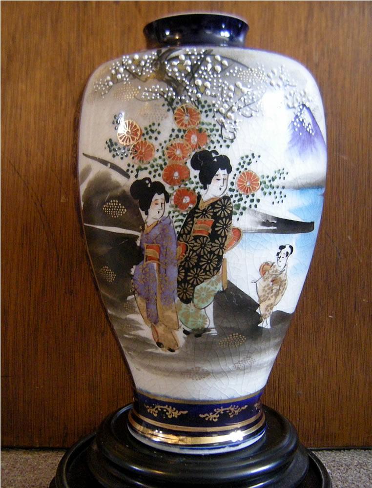 Meiji Period Cobalt Blue Satsuma Painted Geisha Vase Marked Shozan 尚山