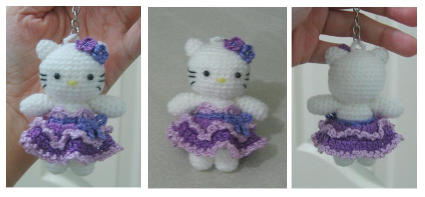 Welcome To Tdccrafts Hello Kitty Wt Purple Dress Keychain Pattern
