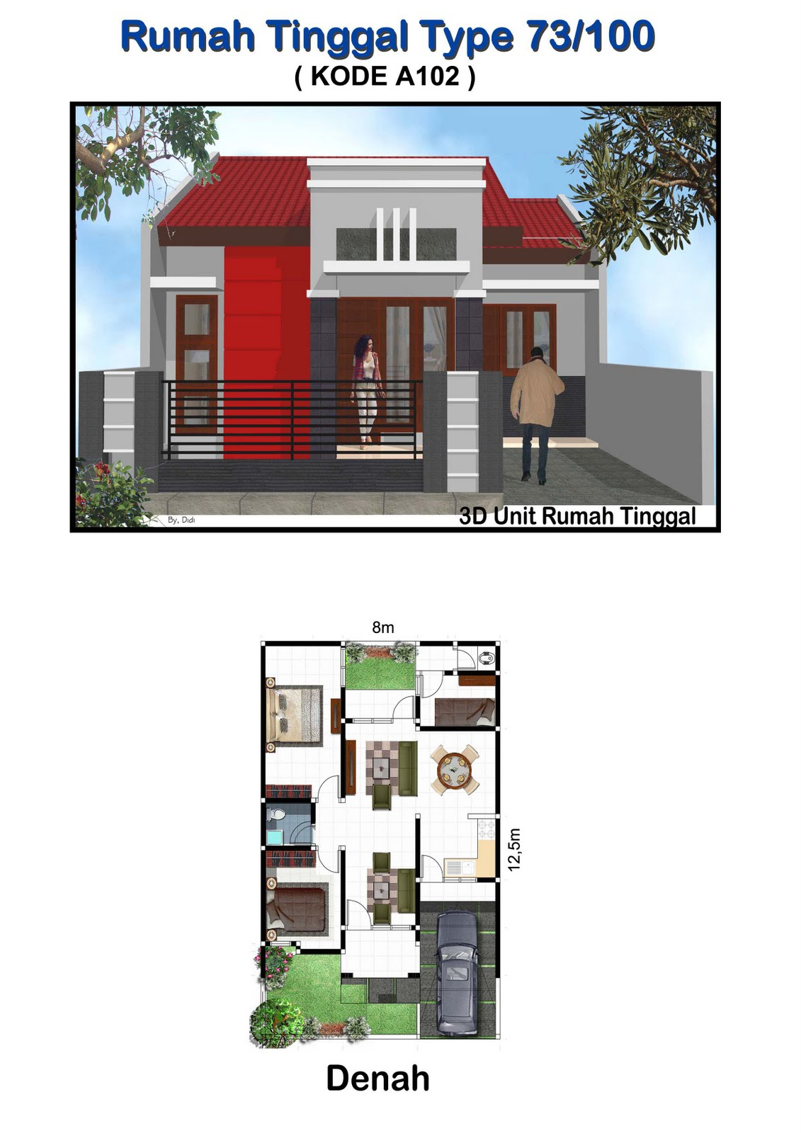 gambar rumah jual gambar arsitek rumah tinggal type 73