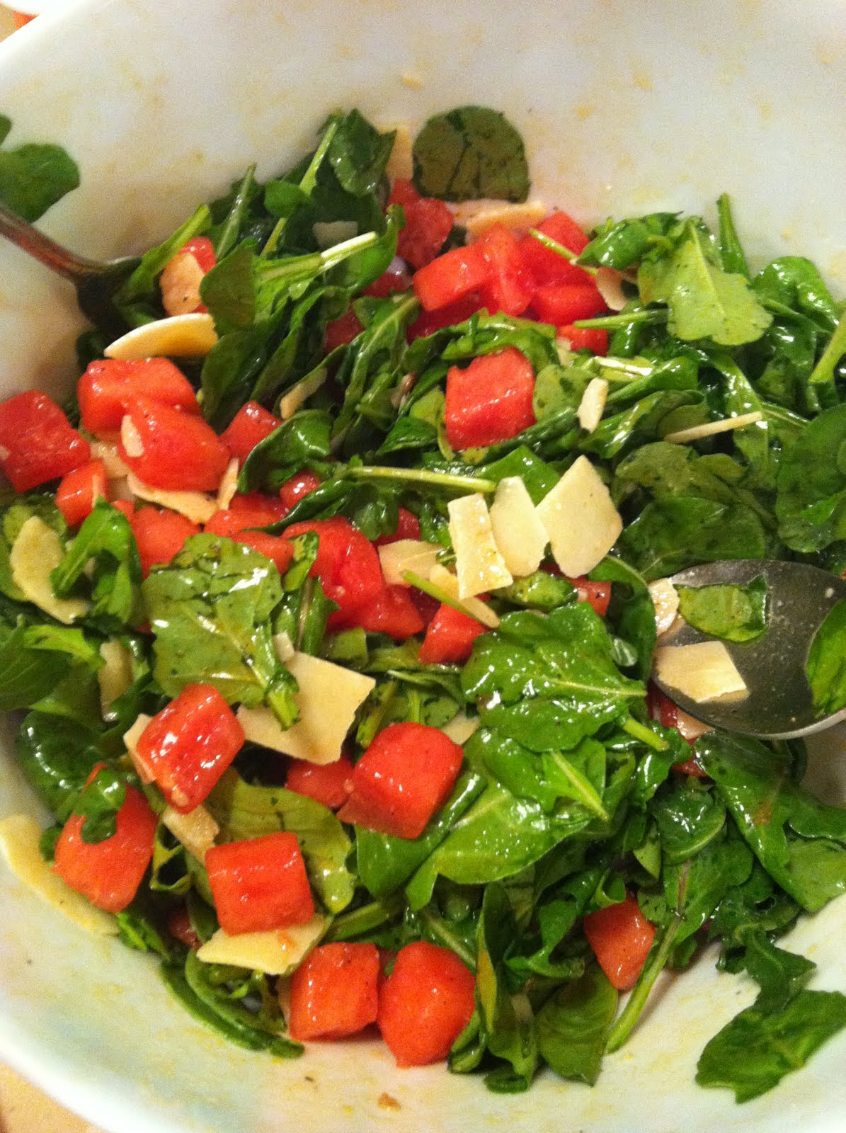 designer bags and dirty diapers: Watermelon and Arugula Salad