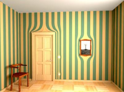 Yeşil Sarı Duvar Göz Yanılması Deseni