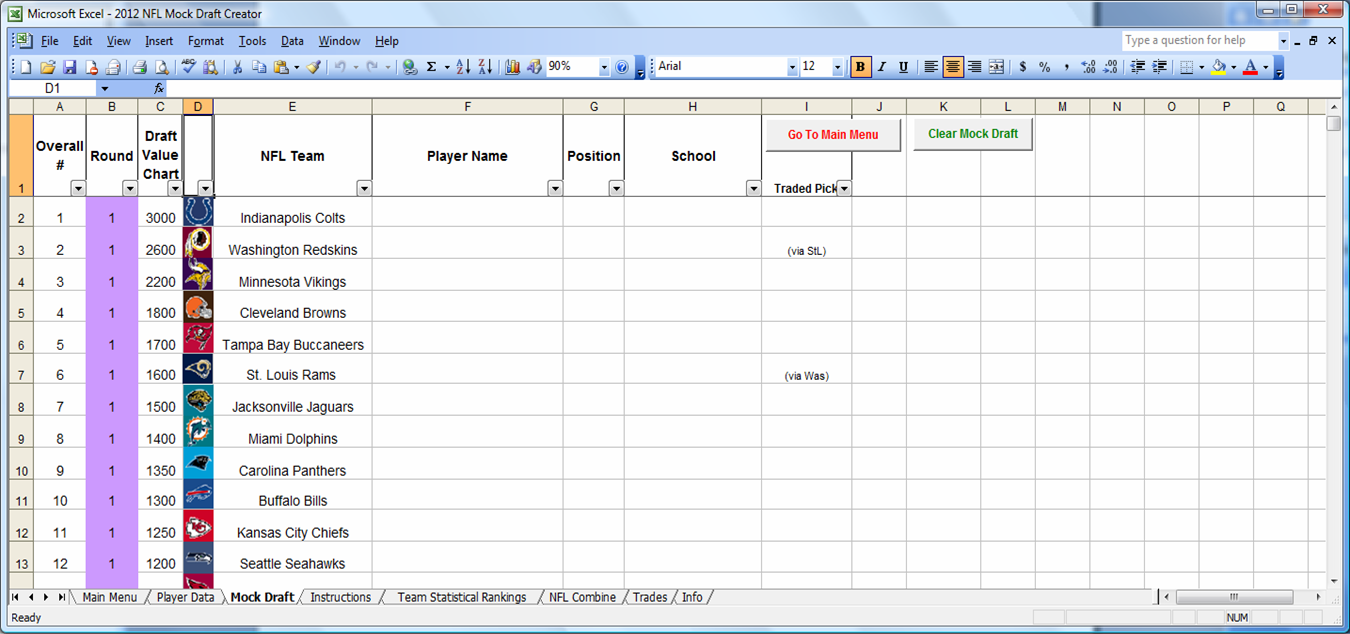 picture about Nfl Draft Sheet Printable known as Excel Spreadsheets Guidance: Downloadable 2012 NFL Mock Draft