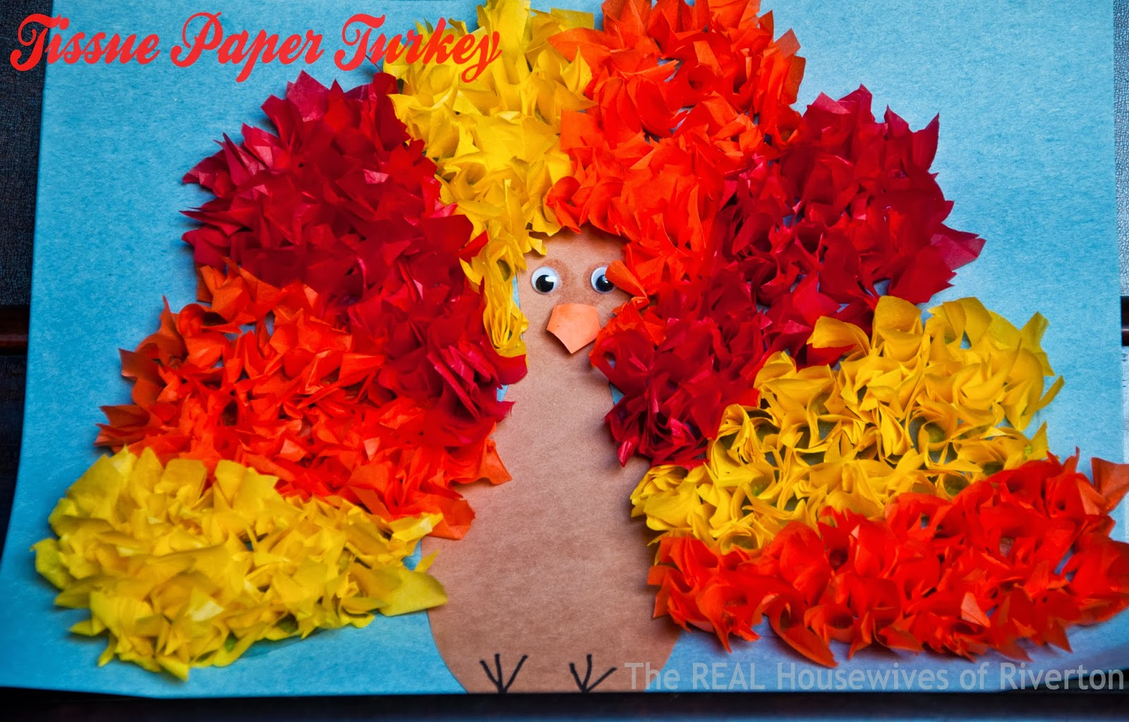 Tissue paper turkey kid 39 s craft housewives of riverton for Tissue paper for crafts