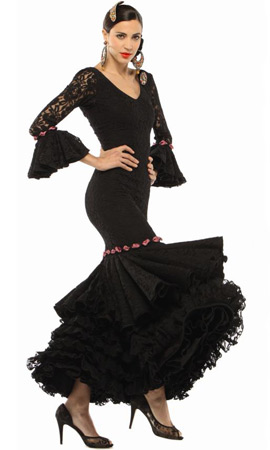 vestido de flamenca color negro de encaje El Corte Inglés