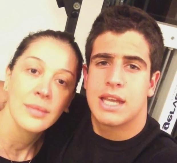 Claudia Raia e Enzo Celulari na academia. Foto: Reprodução