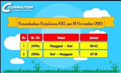 Penambahan Jadwal Perjalanan KRL per 18 November 2015
