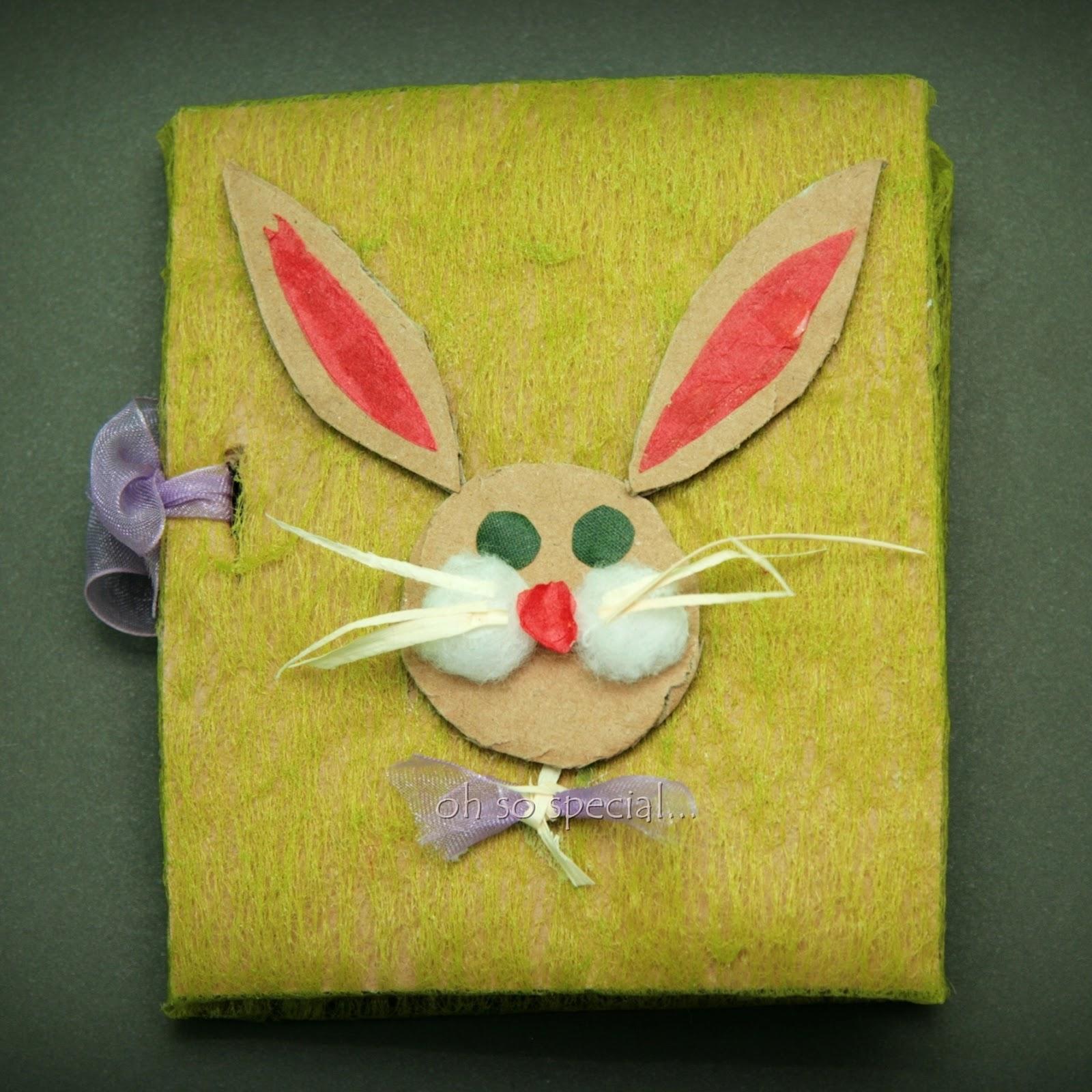 ręcznie robiona kartka z królikiem wielkanocnym