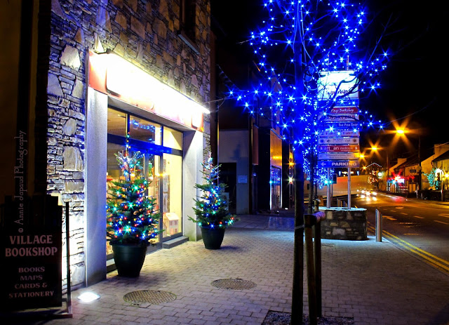 Christmas lights at the Village bookshop in Moycullen, Galway, Ireland