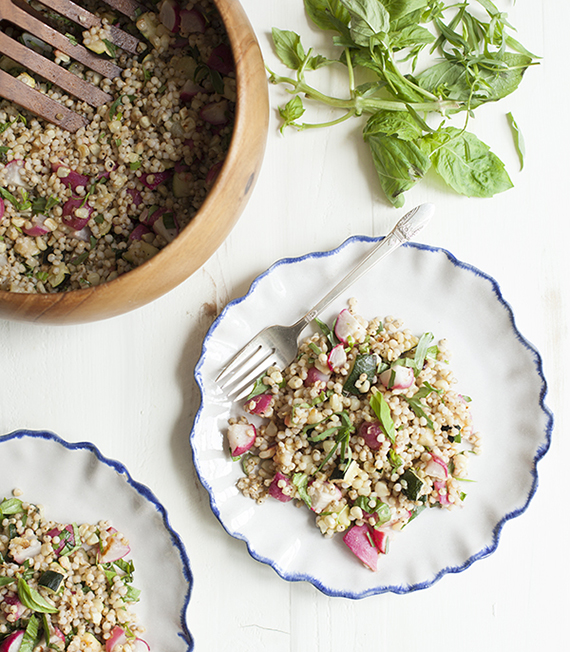 Sorghum and roasted summer vegetable salad with tarragon and basil recipe by Choosing Raw