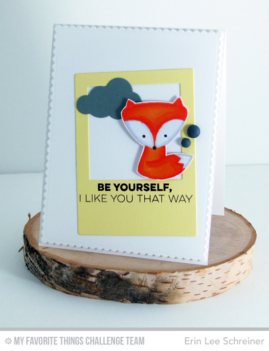 Foxy Like You Card by Erin Lee Schreiner featuring the Miss Tiina Cute Critters stamp set, Friends Like Us stamp set, and Precious Polaroids Die-namics #mftstamps