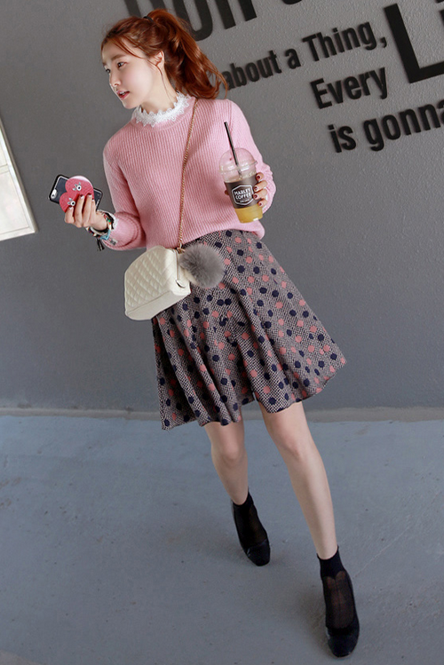 Dot Print Flared Skirt