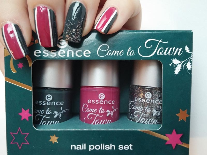 Essence Come To Town 02 got my list? Nails Green Pink Glitter Striping Tape Nail Art Design Manicure