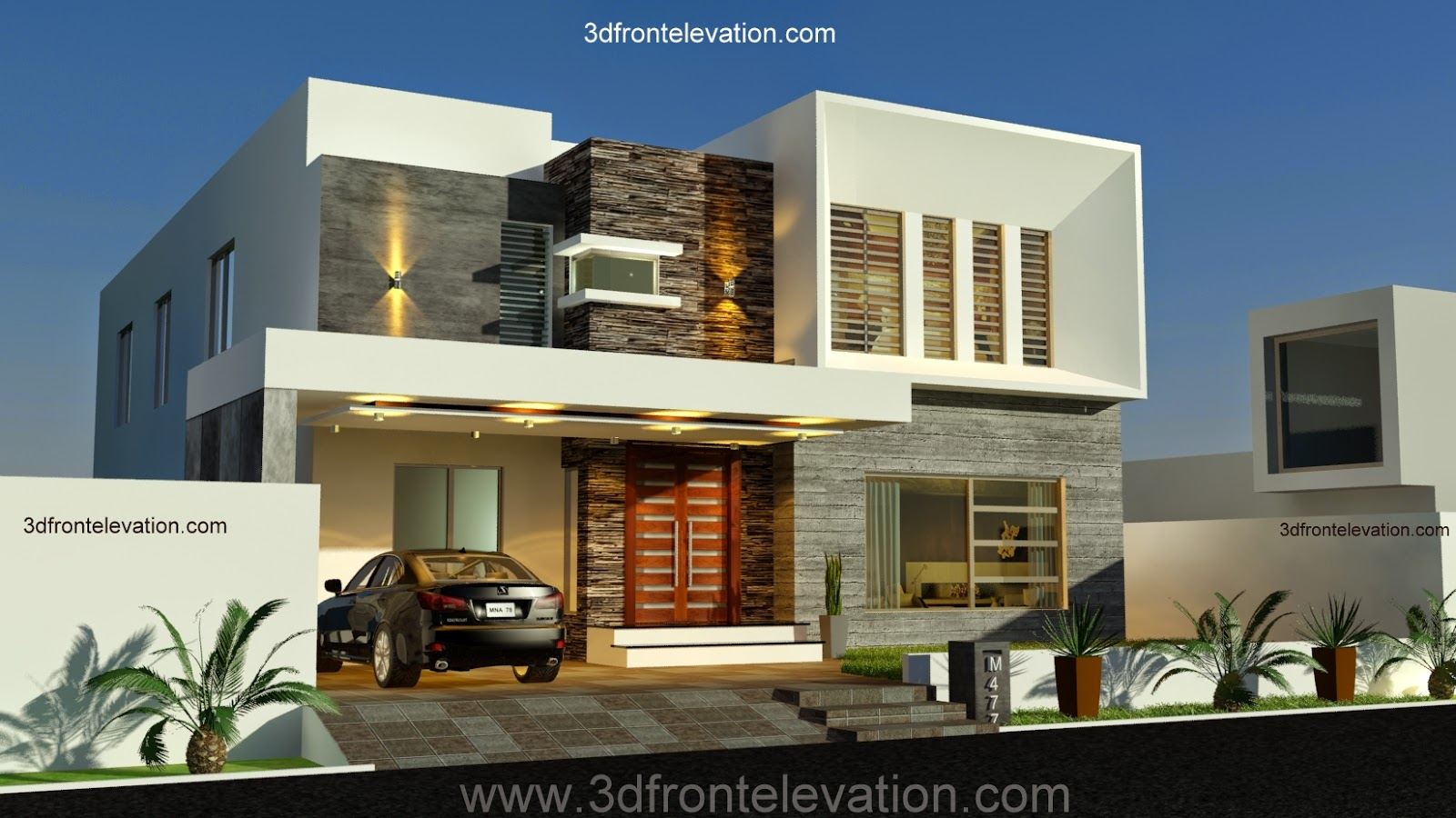 3d front new 1 kanal contemporary house Latest 3d home design