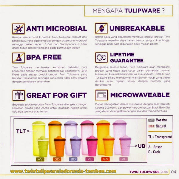 Anti Microbial, BPA Free, Unbreakable, Lifetime Guarantee, Microwaveable, Great For Gift, Pilih Tulipware Tupperware