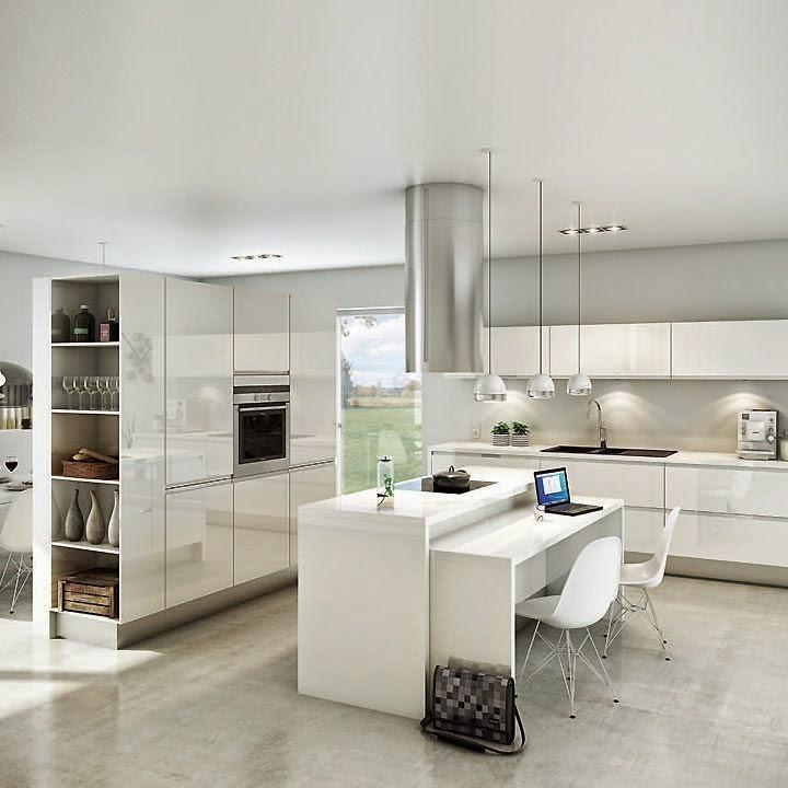 Construindo Minha Casa Clean Tendência de Cozinhas com Ilha Central e Ilha A # Cozinha Com Ilha E Mesa