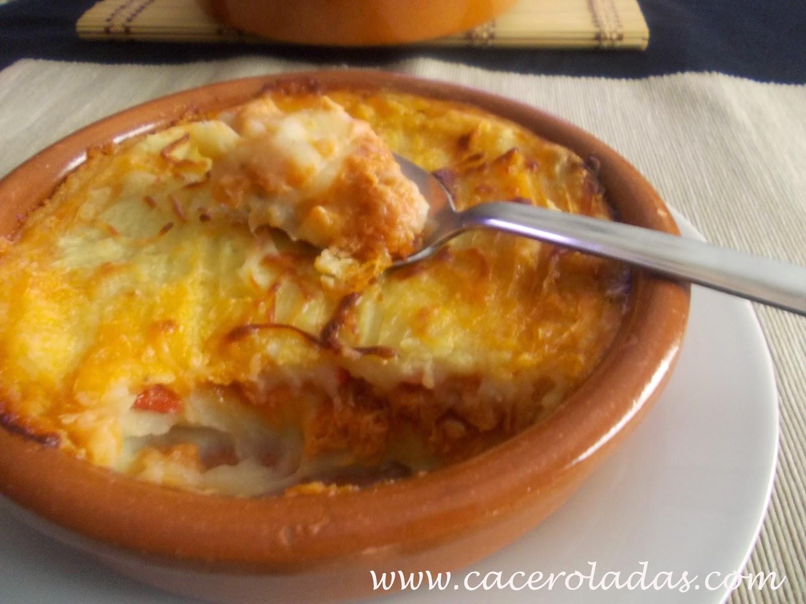 Caceroladas gratinado de patatas y at n - Gratinado de patata ...