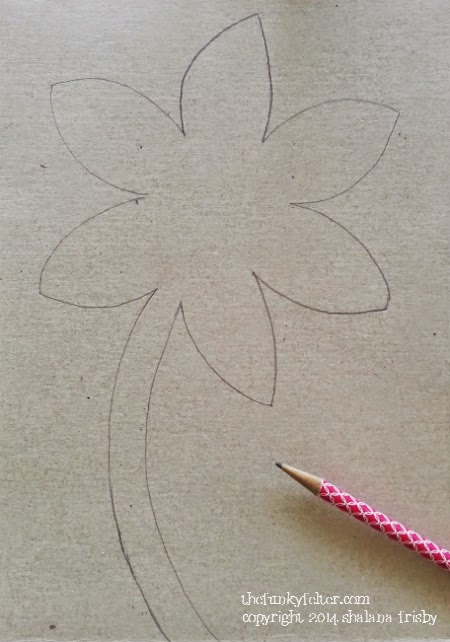 recycled cereal box flower drawing from pattern step 1