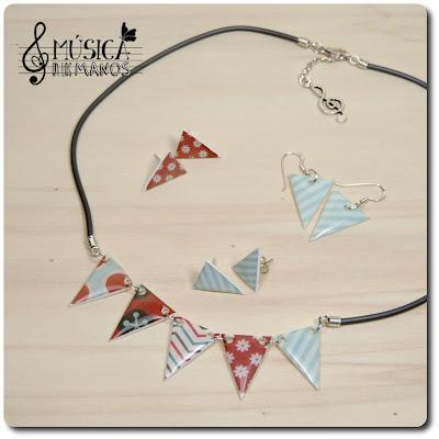 Conjunto menta y coral de banderines de plástico mágico