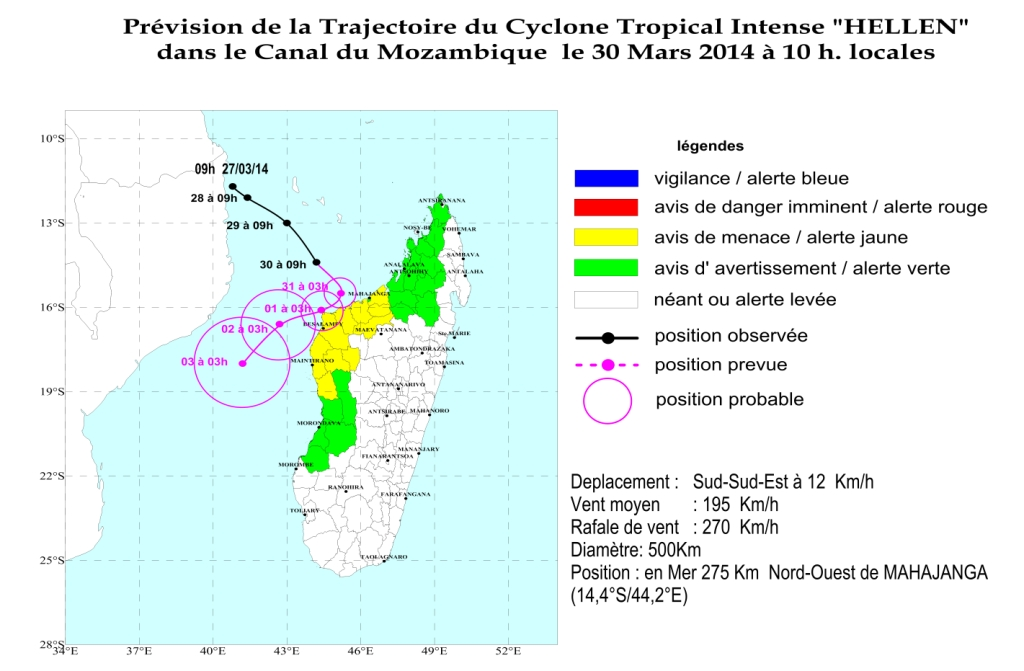 Le cyclone tropical intense Hellen va toucher Madagascar