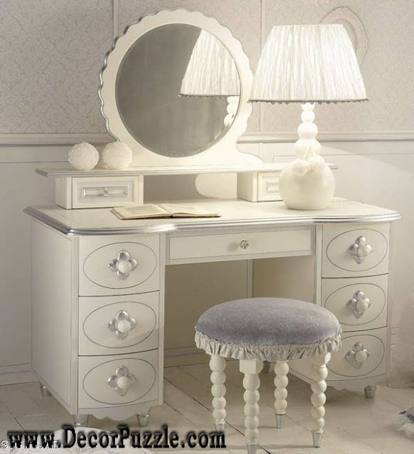 . Luxury modern white dressing table designs with mirror and lighting
