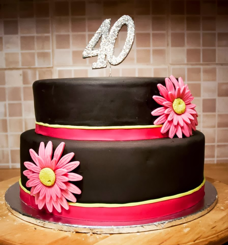 Brown Pink 40th Birthday Cake