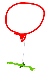 drawing of flying dragon, helium balloon