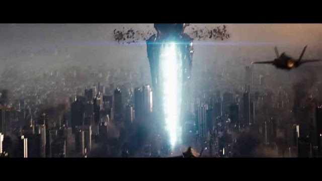 man of steel kryptonian laser tunnels through metropolis