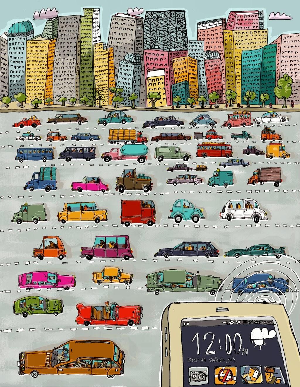 Ilustração sobre os Detrans de vários estados brasileiros e os aplicativos para os smartphones.