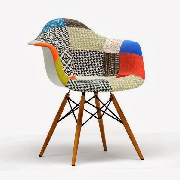 Sillon Eames Daw tapizado con Patchwork