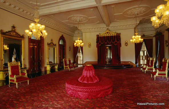 photos of the interior throne room of iolani palace in honolulu hawaii united states usa